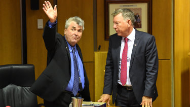 Cr David Pahlke (left) with acting mayor Wayne Wendt after the meeting.