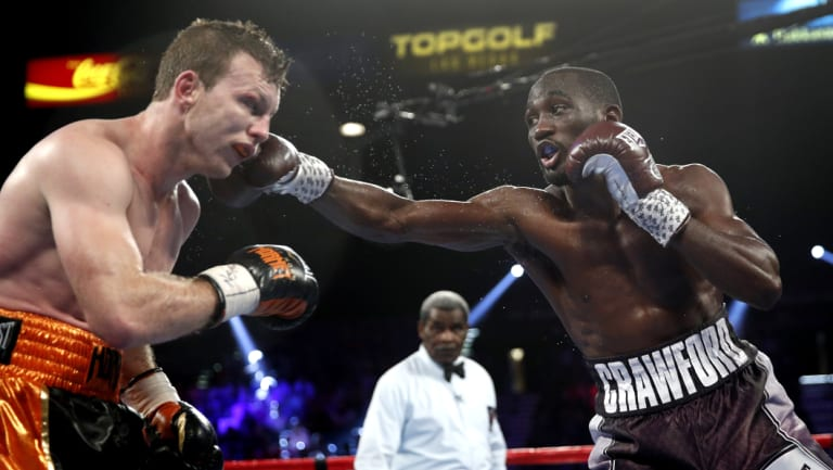Class: Terence Crawford works his jab on the way to victory over Jeff Horn.