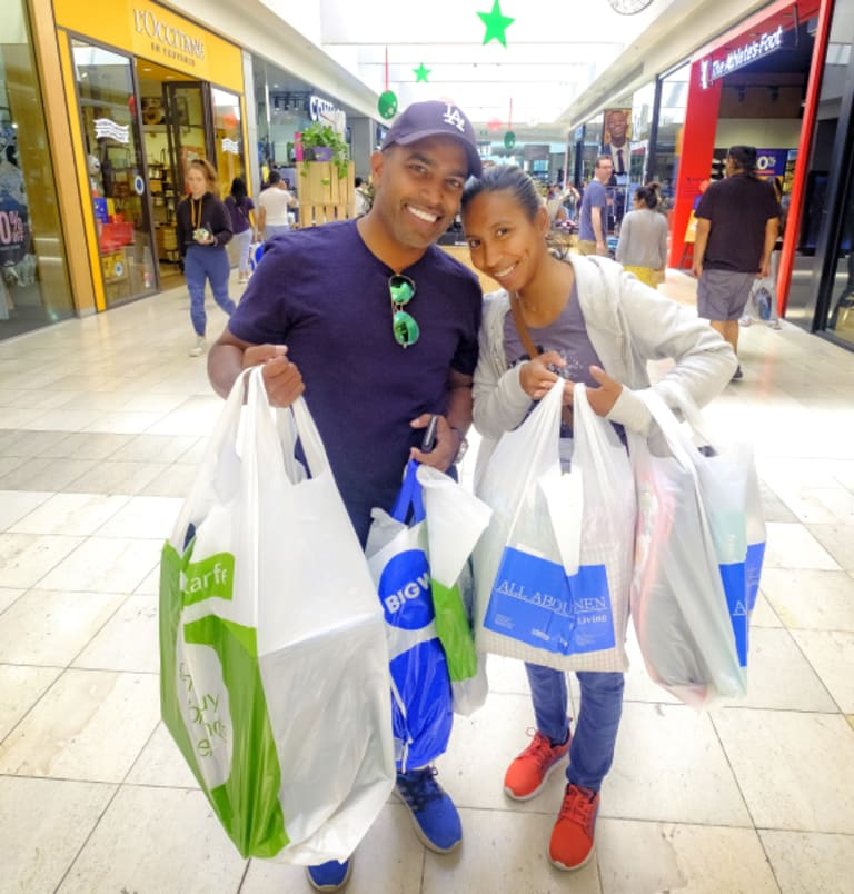 All done: Chris and Nadia David finished their Christmas shopping in an efficient 90 minutes at Highpoint on Sunday.
