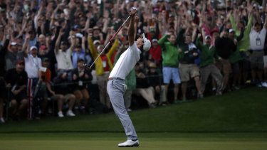 Drought breaker: Adam Scott makes a birdie putt on the second play-off hole in 2013 to become the first Australian to win the Masters at Augusta.