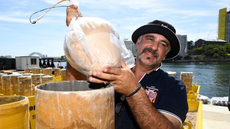 Fortunato Foti prepares fireworks for the big night.