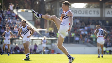 Fremantle forward Matt Taberner has been in great form but is now ruled out for the season.