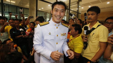 Thailand's Future Forward Party leader Thanathorn Juangroongruangkit arrives at the Parliament in Bangkok on Friday.