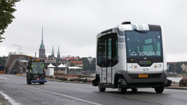 An EasyMile EZ-10 self-driving shuttle bus during testing as part of the Sohjoa pilot project in Helsinki, Finland.