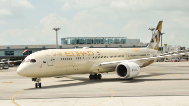 One of the targets: The men were allegedly planning to release gas on an Etihad flight.