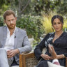 Prince Harry and Meghan Markle during their interview with Oprah Winfrey.