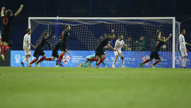 Croatia celebrate the winning goal against Spain in Zagreb.
