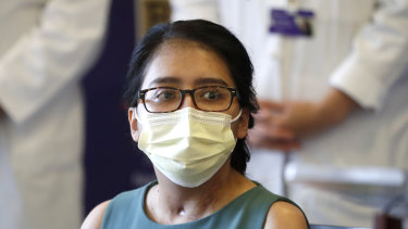 Mayra Ramirez, a COVID-19 survivor due to a double-lung transplant, responds to a question about her journey through the pandemic during her first news conference at Northwestern Memorial Hospital in Chicago.