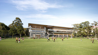 An artist's impression of new sporting facilities proposed by Sydney Grammar School.