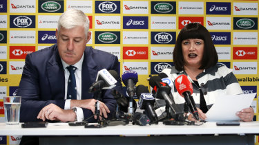 Cameron Clyne and Raelene Castle  front the media last December to announce a high-performance overhaul which included Johnson being appointed director of rugby.