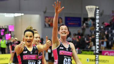 All smiles: Maisie Nankivell and Kate Shimmin after a win for the Thunderbirds.