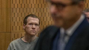 Christchurch mosque gunman Brenton Tarrant during his sentencing hearing on Thursday. The terrorist has been jailed for life without parole.