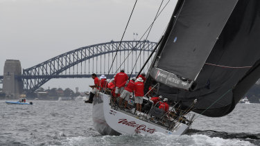 Wild Oats XI on Sydney Harbour in December 2018.