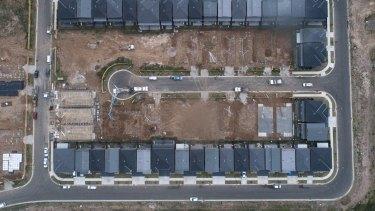 A housing estate under development in Sydney's north-west.