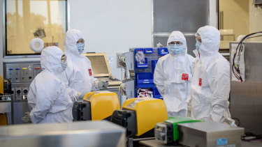 Staff at CSL are seen working in the lab on November 08, 2020 in Melbourne, Australia.