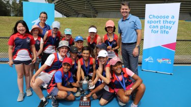 Telopea Park School students and Todd Woodbridge at Sydney Olympic Park.