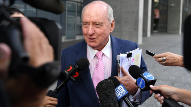 Broadcaster Alan Jones outside the Brisbane Supreme Court last month where he was facing a separate lawsuit.