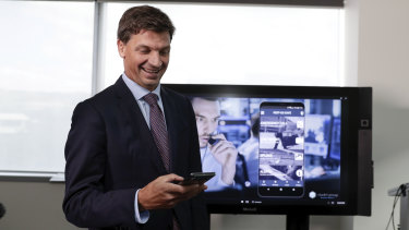 Minister for Law Enforcement and Cybersecurity Angus Taylor during a cloud computing announcement on Microsoft Azure.