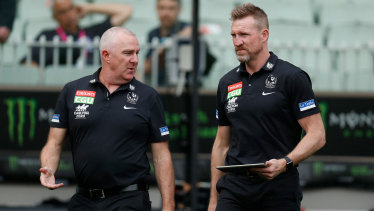 Collingwood GM of football Graham Wright and senior coach Nathan Buckley.
