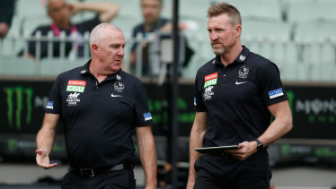 Collingwood's GM of football Graham Wright with former coach Nathan Buckley.