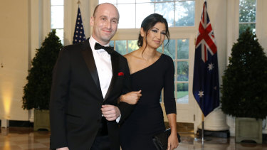 US President Donald Trump's senior adviser Stephen Miller, left, and Katie Waldman, now Miller, arrive for a state dinner with Prime Minister Scott Morrison and President Donald Trump at the White House in Washington last year.
