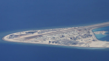 A man-made Chinese airstrip in the South China Sea, a heavily contested area that Williamson said was important for enforcing Britain's values and rights of passage.