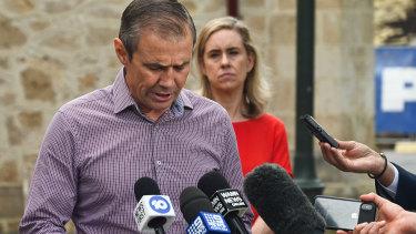 Deputy Premier Roger Cook addressing  the media in Fremantle on Saturday.
