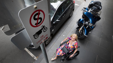 Double amputee Amanda Lawrie-Jones was once stuck on the footpath for 90 minutes when a motorcycle blocked her getting to her car.