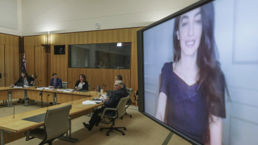 Barrister Amal Clooney appears via teleconference during a hearing with the Joint Standing Committee on Foreign Affairs, Defence and Trade.