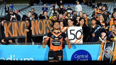 David Nofoaluma celebrates his 150th game against the Warriors in round 11, two nights before chairman Lee Hagipantelis' daughter's wedding.