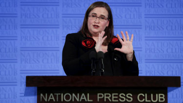 Sex Discrimination Commissioner Kate Jenkins addresses the National Press Club in Canberra on Wednesday.