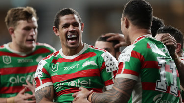 Jaydn Su'A celebrates a try for the Rabbitohs in their hard-fought win over the Bulldogs.