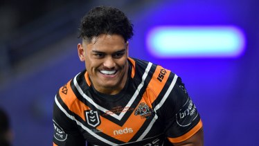 Shawn Blore was impressive on debut for the Wests Tigers.