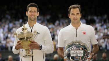 Novak Djokovic and Roger Federer after their epic 2019 Wimbledon final.