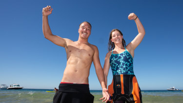 Jessie Coulson and Dominique Hart after their wins in the Portsea Swim Classic.