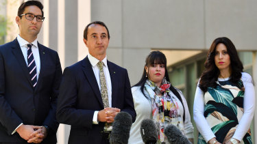 Labor's Josh Burns and the Liberal's Dave Sharma, alongside two of Malka Leifer's allged victims, urged action on the accused paedophile's extradition.