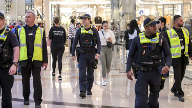Security guards and PSOs at Chadstone, Melbourne, patrolling the shopping centres and reminding customers of social distancing guidelines.