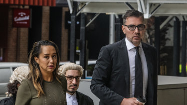 Double Bay plastic surgeon Kourosh Tavakoli arrives for a related court case with lawyer Rebekah Giles.