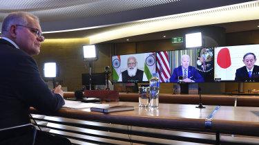 Prime Minister Scott Morrison participates in the inaugural Quad leaders' meeting.