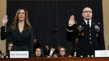Jennifer Williams, an aide to Vice-President Mike Pence, left, and National Security Council aide Lieutenant Colonel Alexander Vindman, both listened in on the infamous phone call between Trump and his Ukrainian counterpart.