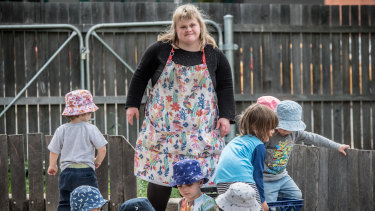Sharon Champion is the first woman with down syndrome to get her child care qualifications in the ACT and is working at Stella bella childcare in Fyshwick.