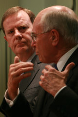 John Howard (right) and Peter Costello hold a joint press conference in Melbourne during the 2007 election.