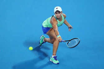 Ash Barty plays a backhand during her win over Lesia Tsurenko.