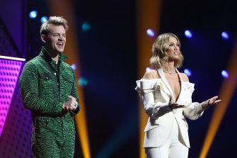 ARIA Awards hosts Joel Creasey and Delta Goodrem.