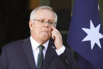 Prime Minister Scott Morrison at The Lodge on Wednesday.