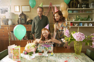 Richard Roxburgh as Dad, Daisy Axon as Candice, and Emma Booth as Mum in H is for Happiness