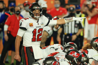 Tom Brady of the Tampa Bay Buccaneers signals during the fourth quarter against the Kansas City Chiefs.