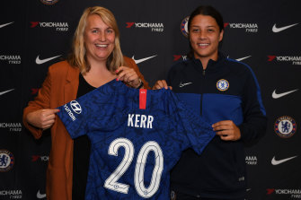 Chelsea coach Emma Hayes with star signing Sam Kerr.