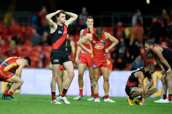 A dejected Jordan Ridley after the final siren sounds with the scores level.