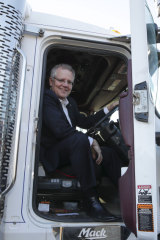 Prime Minister Scott Morrison in the driver's seat on Thursday morning.